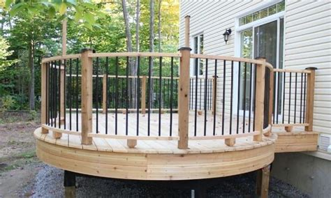 Wood deck railing is the most popular choice, followed by metal deck railing. Standard Deck Railing Height: Code Requirements and Guidelines | Curved deck, Deck designs ...