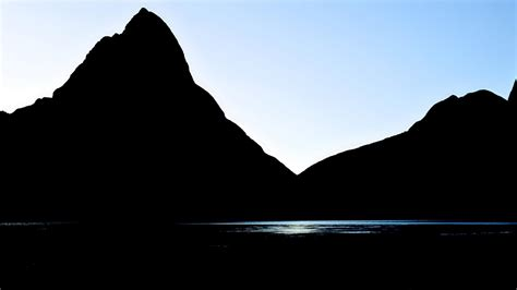 water mountains landscapes silhouette wallpaper