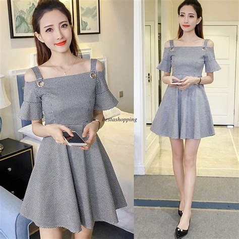Korean Women Off Shoulder Plaids Checks Sundress Summer Casual Loose Slim Dress | eBay