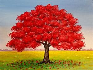 LIVE | Red Oak Tree Fall Landscape | Acrylic Painting ...