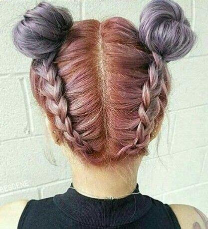 Doble rodete cin tranzas atras Peinados bonitos