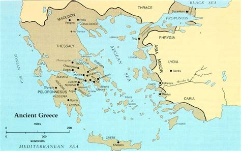 Ancient Greek Peninsula Greece Map