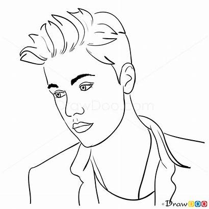Bieber Justin Celebrities Coloring Pages Draw Printable