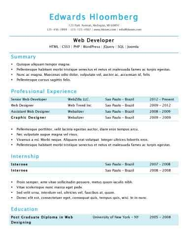 Simple Professional Resume Template by Simple Resume Templates 75 Exles Free Hloom