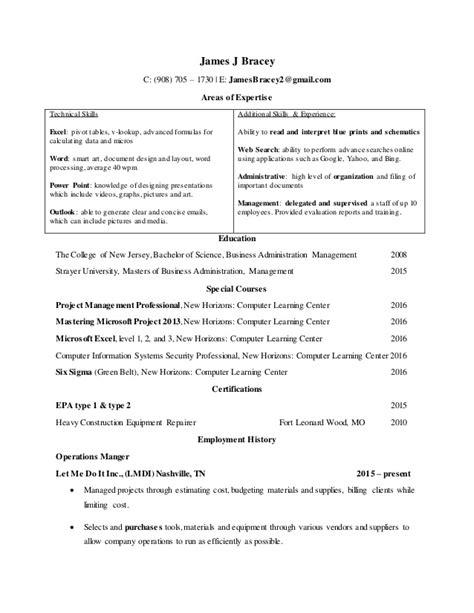 resume excel skills pivot tables j bracey 2016 resume