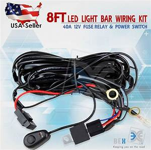 8ft 40a 12v Power Switch  U0026   Relay Wiring Harness Kit For Led Light Bar Off Road
