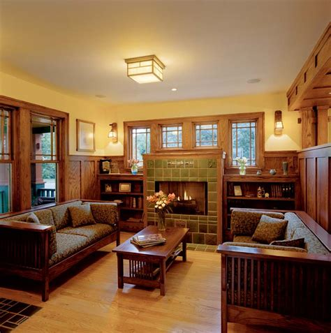 craftsman style home interior fireplace on