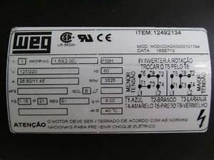 Motor Monofasico Weg 2 Cv 1700 Rpm 127  220v Ip 21