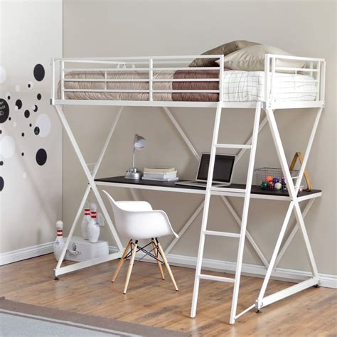 bunk loft with desk modern twin size bunk bed loft with desk in white metal