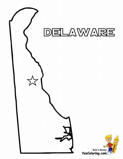 Map Delaware Coloring Pages State Yescoloring Maryland