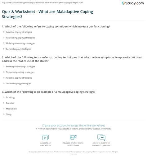 quiz worksheet   maladaptive coping strategies