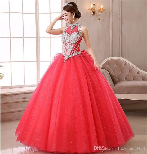 2015 Vintage Cheap Red Quinceanera Dresses Halter Beading ...