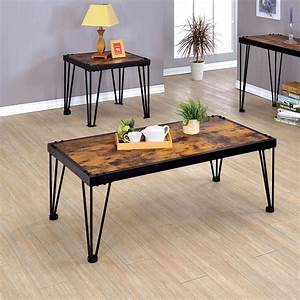 furniture of america mally 2 pc industrial style coffee With industrial coffee table set