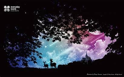 Moon Stardust Deer Silhouette Castles Stars Wallpapers