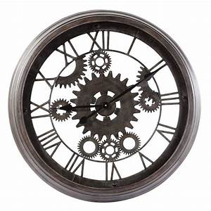 Maison Du Monde Horloge Murale : horloge indus en m tal noire d 82 cm contre temps maisons du monde ~ Teatrodelosmanantiales.com Idées de Décoration