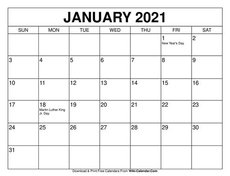 Printable calendar pages offer a fantastic alternative to traditional calendars and diaries. Printable Calendar For January 2021