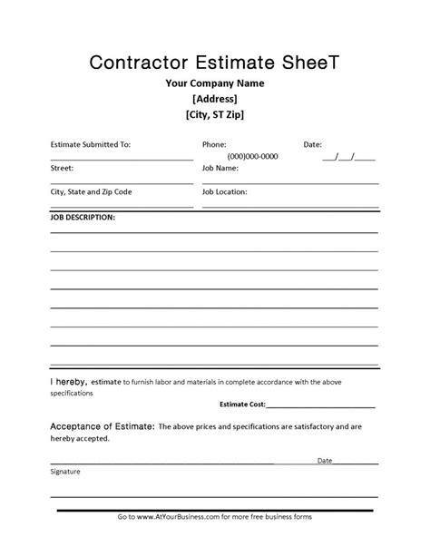 contractor blank estimate sheet template  format
