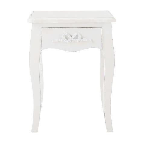table de chevet avec tiroir en bois blanc l 40 cm maisons du monde