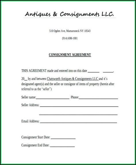 consignment agreement template uk template  resume