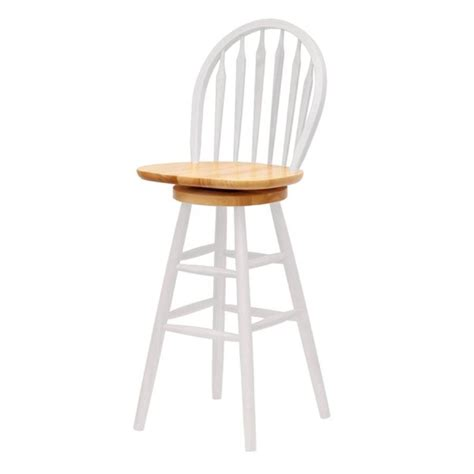 White Wood Stool - shop winsome wood white 30 in bar stool at lowes