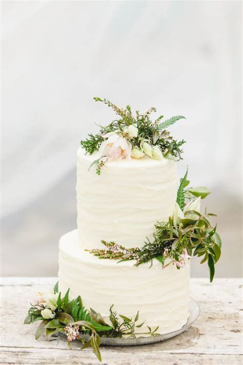 Rustic Two Tier Buttercream Wedding Cake Letterpress