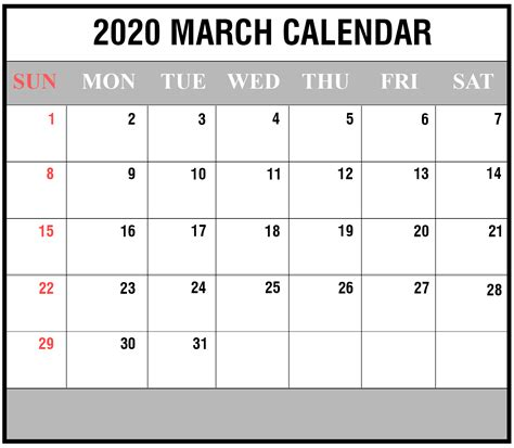 blank march  printable calendar   excel