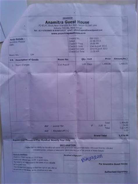 hotel bill in delhi hotel bill given by manager picture of anamitra guest house kolkata tripadvisor