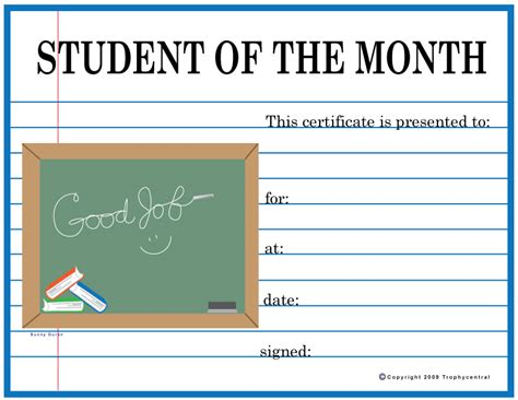 student   month certificates certificate