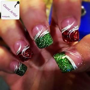 Fingernail designs sparkly christmas nails polishpedia