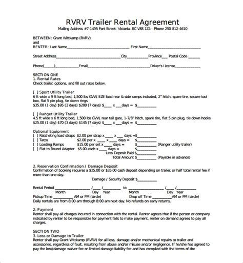 trailer rental agreement templates  ms word