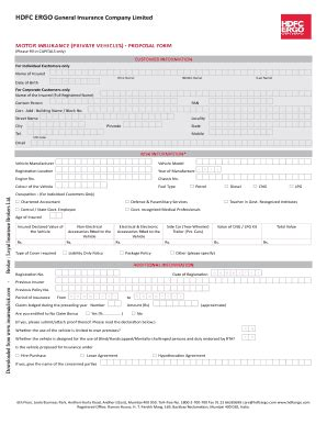 hdfc motor claim form fill  printable fillable