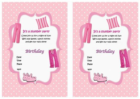 a birthday invitation free printable slumber party invitation for kids