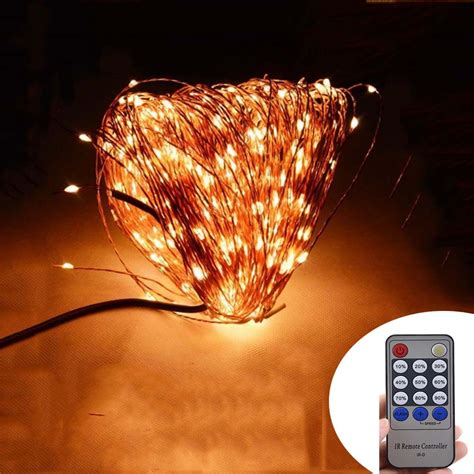 white wire string lights remote 50m 165ft 500 leds copper wire warm white 1489