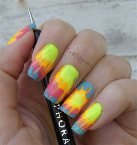 cool trendy neon nail art designs
