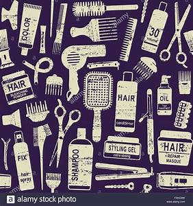 Hair Styling Related Vector Seamless Pattern Background 1 ...