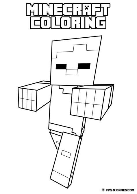 minecraft zombie coloring pages  getcoloringscom  printable colorings pages  print