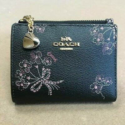 Diesel leather wallet card holder case grainy two tone panel aged metal logo. Coach Snap Card Case with Bouquet Print F76880   eBay
