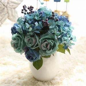 1 Bunch 6pcs Artificial Flowers Blue Rose Silk Flower