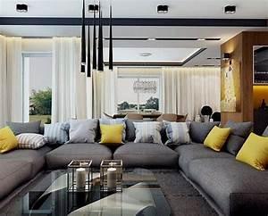 canape gris moderne 55 modeles dangle ou droits fonces With tapis shaggy avec canapé angle petit format