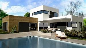 toit terrasse prix moyen au m2 pour une toiture accessible With lovely maison bois toit plat 12 maison contemporaine avec patio