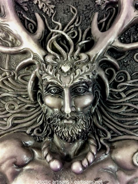 cernunnos plaque stone finish eartisans wiccan pagan