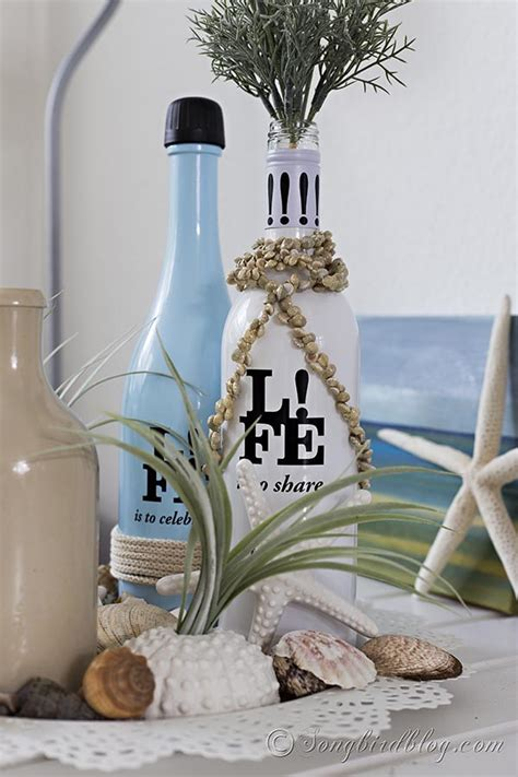 beach decor summer diy pottery bottles barn vignette inspired buoys fishing decorating glass wine knockoff songbirdblog easy