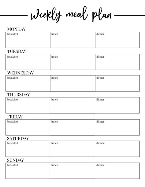 printable weekly meal plan template paper trail design