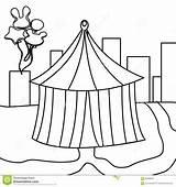Tent Coloring Circus Illustration Drawn Doors sketch template