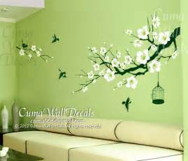 home interior bird cage cherry blossom wall decal birds wall decals flower vinyl
