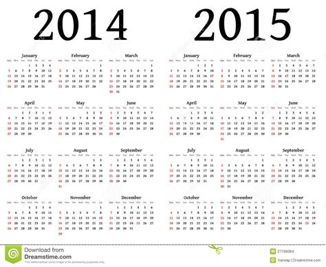 Calendar For 2014 And 2015 In Vector Stock Vector  Illustration Of Schedule, Illustration 27166084