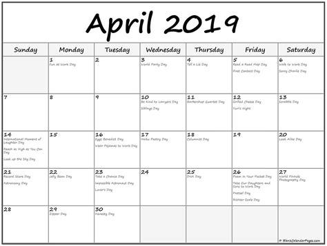 collection april calendars holidays