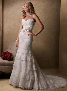 slim a line sweetheart scalloped layered lace wedding With scalloped lace wedding dress