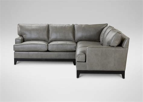 comfortable ethan allen leather sectional sofas grey top