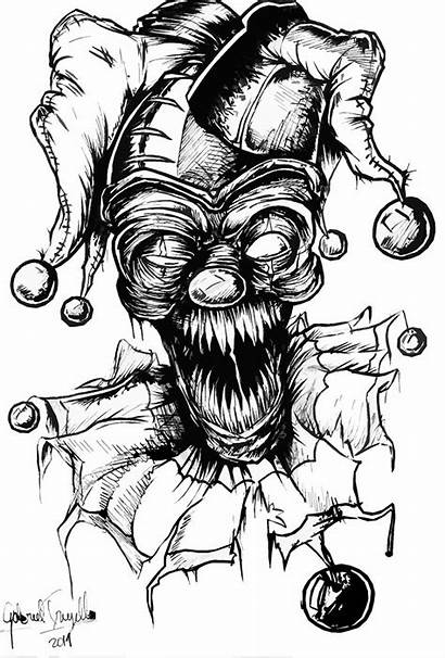 Clown Coloring Scary Evil Zombie Drawings Drawing
